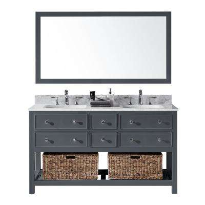 Elodie 60 in. W x 22 in. D x 34.21 in. H Bath Vanity in Cashmere Grey With White Marble Top With White Basins and Mirror