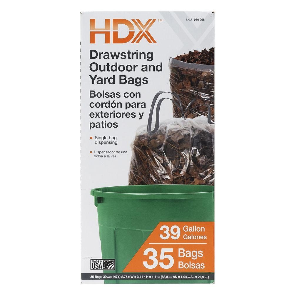 HDX 39 Gal. Outdoor/Yard Drawstring Clear Trash Bags (35-Count)