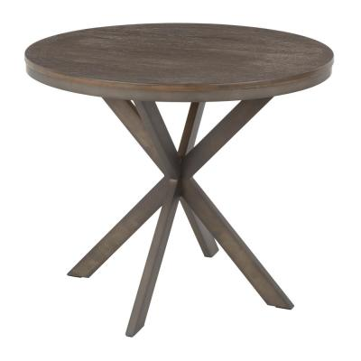 X Pedestal Industrial Dinette Table in Antique Metal and Espresso Wood - 1-Piece