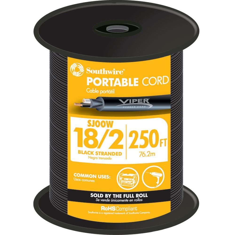 250 ft. 18/2 300-Volt CU Black Flexible Portable Power SJOOW Cord
