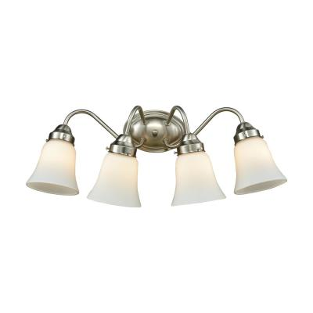Califon 4-Light Brushed Nickel With White Glass Bath Light