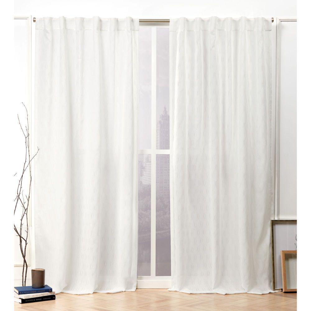 Tangled Snowflake Sheer Hidden Tab Top Curtain Panel - 54 in. W x 96 in. L (2-Panel)