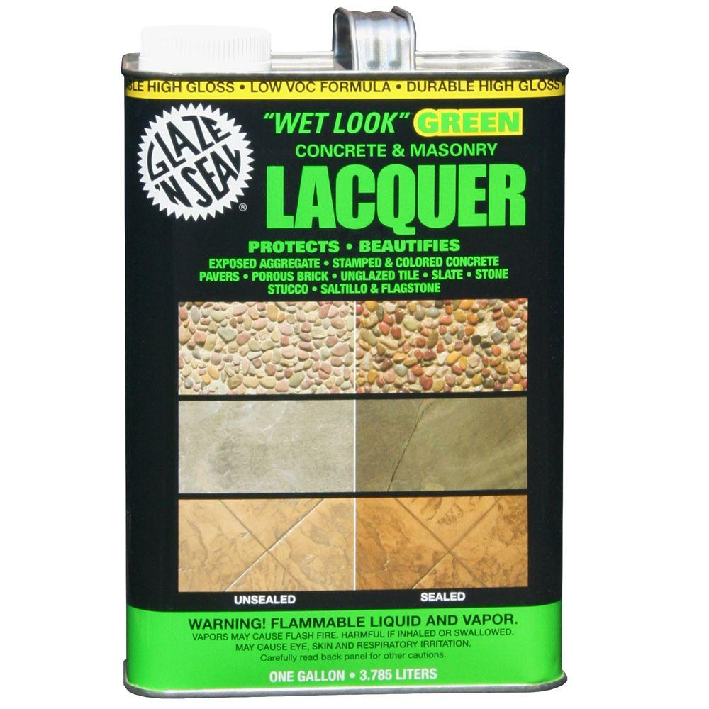 1 gal. Clear Wet Look Green Concrete and Masonry Lacquer Sealer