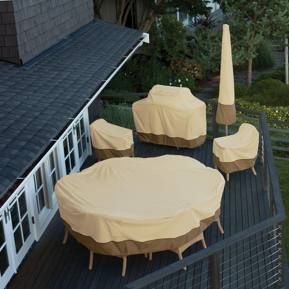 Small Classic Accessories Veranda Round, Round Patio Furniture Covers With Umbrella Hole