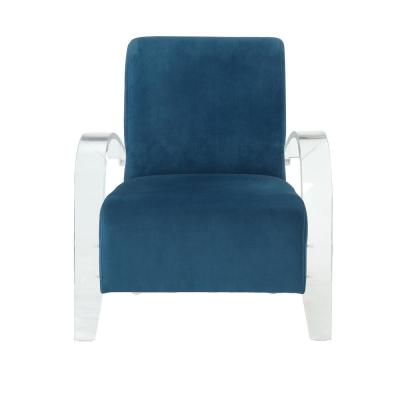 Malyssa Teal and Clear Acrylic Accent Chair