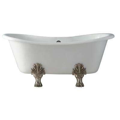 Markus 66 in. Cast Iron Double Slipper Clawfoot Non-Whirlpool Bathtub in White with 7 in. Faucet Holes and White Feet