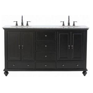 Home Decorators Collection Newport 61 in. W x 21-1/2 in. D Double Bath Vanity in Black with ...