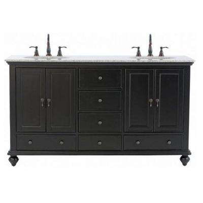 Newport 61 in. W x 21-1/2 in. D Double Bath Vanity in Black with Granite Vanity Top in Gray