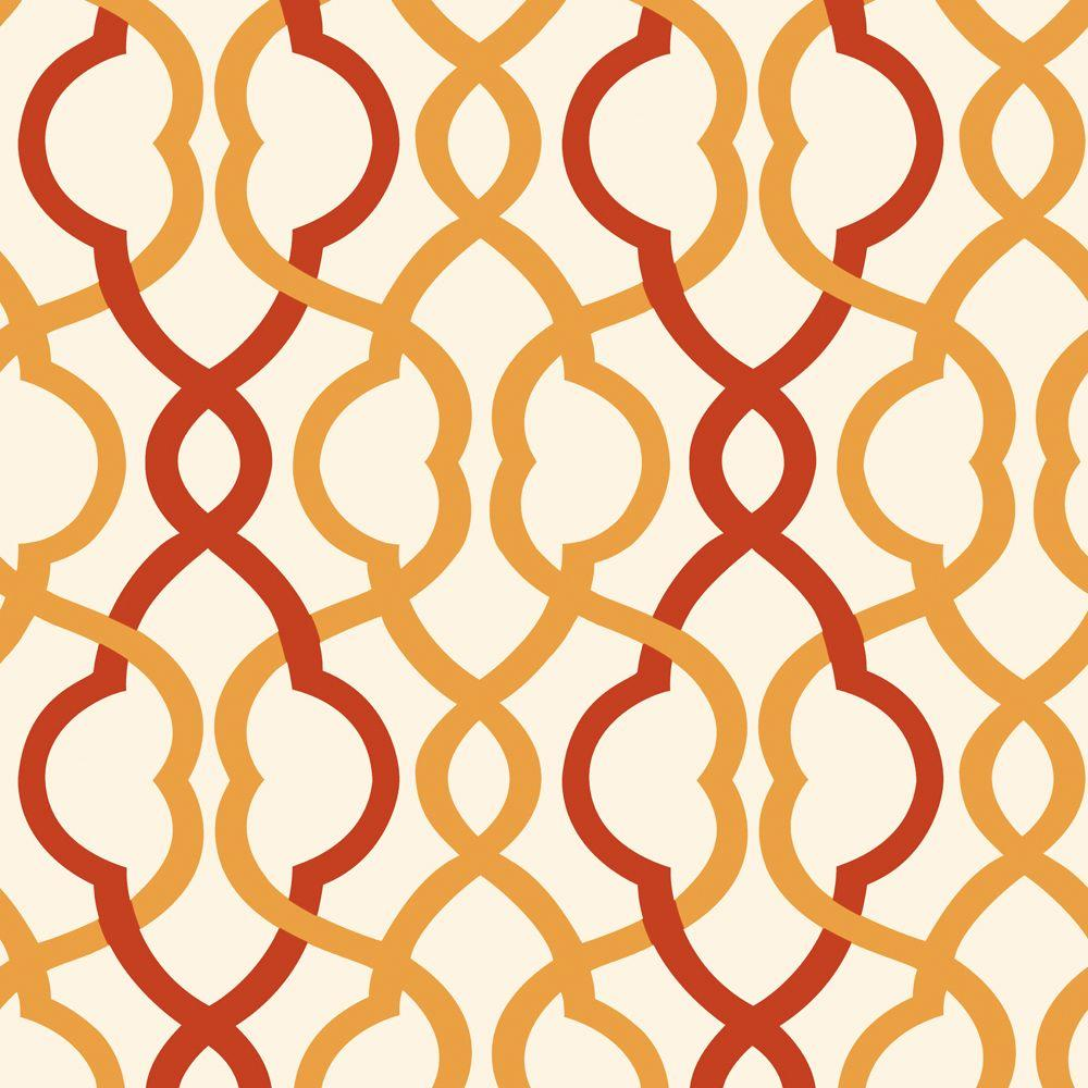 The Wallpaper Company 10 in. x 8 in. Make Waves Red/Ochre Wallpaper Sample