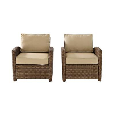 Bradenton 2-Piece Wicker Outdoor Seating Set with Sand Cushions - 2 Arm Chairs