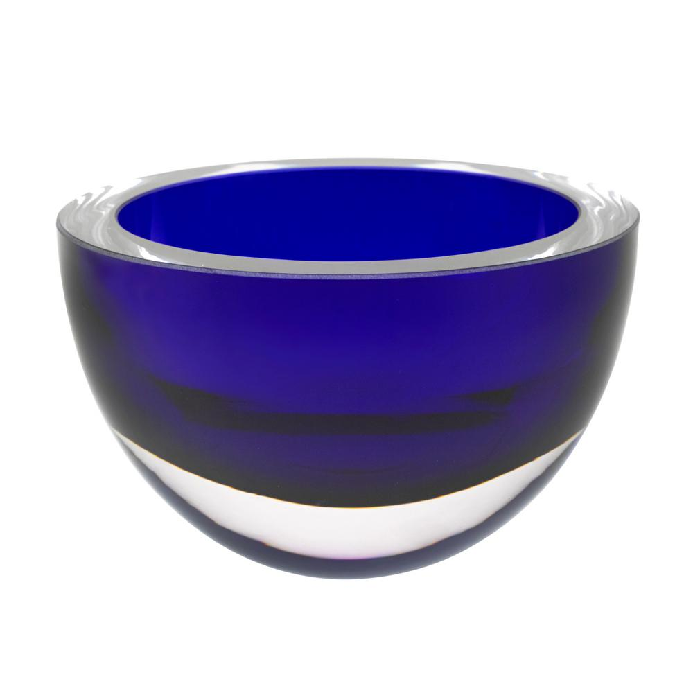 Penelope Cobalt Mouth Blown European Lead Free Crystal 6 in. Bowl
