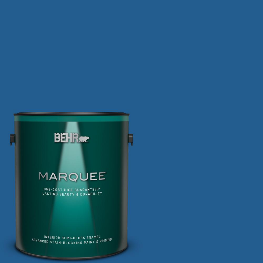 Behr Marquee 1 Gal S G 570 Sapphire Lace Semi Gloss Enamel Interior Paint Primer 345301 The Home Depot
