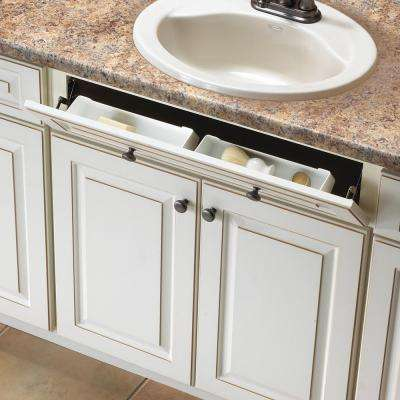 3 in. x 11 in. x 2 in. Polymer Sink Front Tray with Hinges Cabinet Organizer