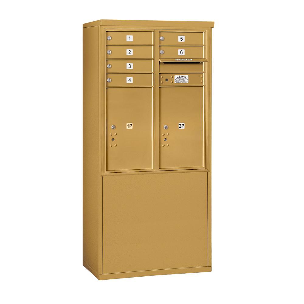 3900 Horizontal Series 6-Compartment 2-Parcel Locker Free Standing Mailbox