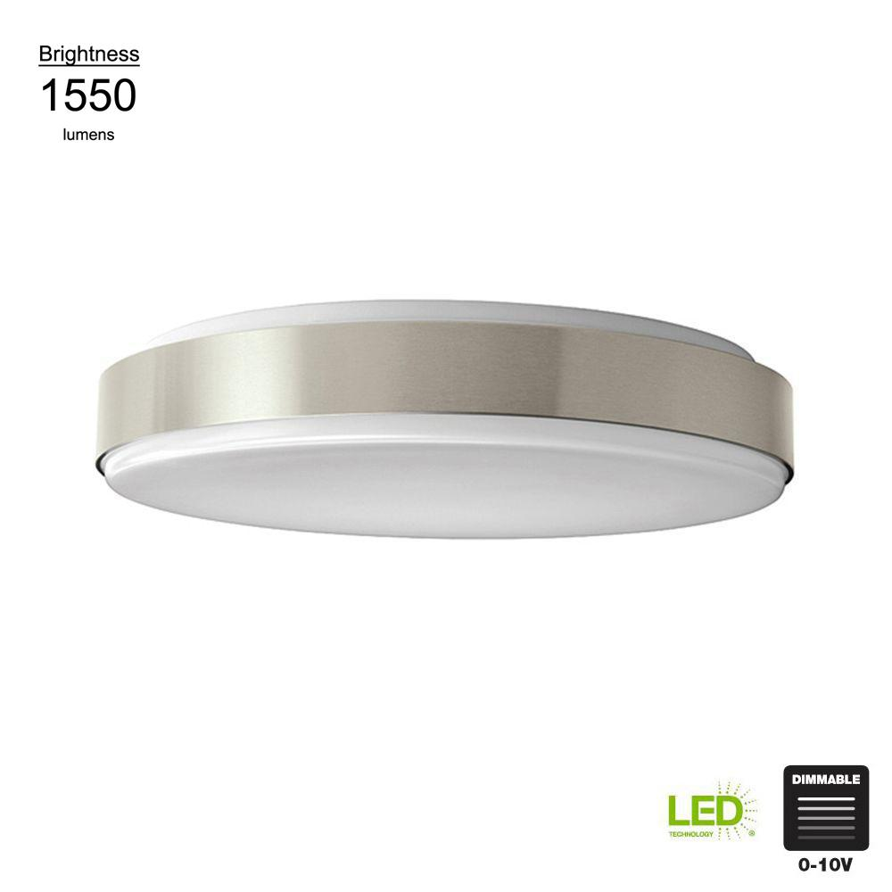 Hampton Bay 15 in. 60 Watt Integrated LED Brushed Nickel Bright/Cool White Round Flushmount Dimmable