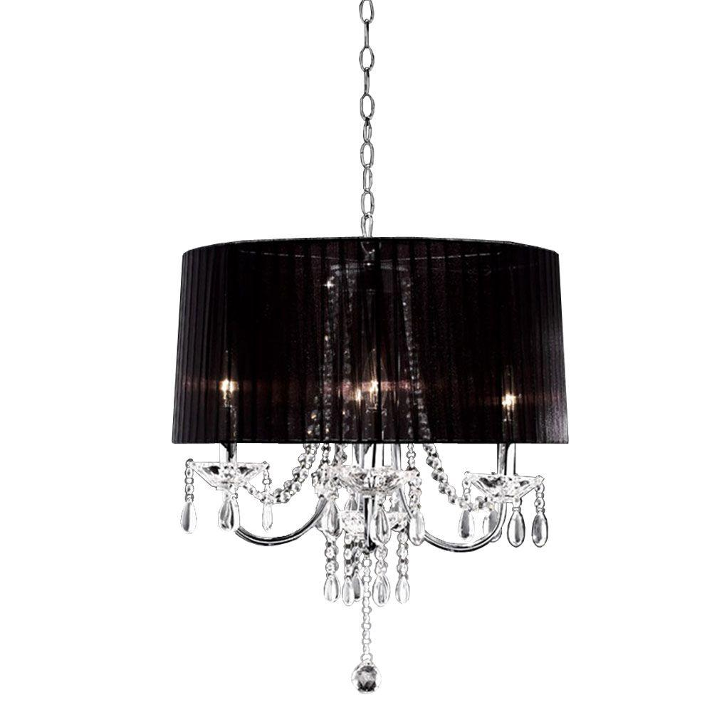 OK LIGHTING 4-Light Silver Crystal Drop Chandelier-OK-5111H - The ...