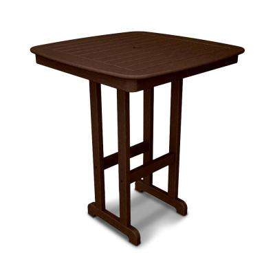 Nautical Mahogany 37 in. Plastic Outdoor Patio Bar Table