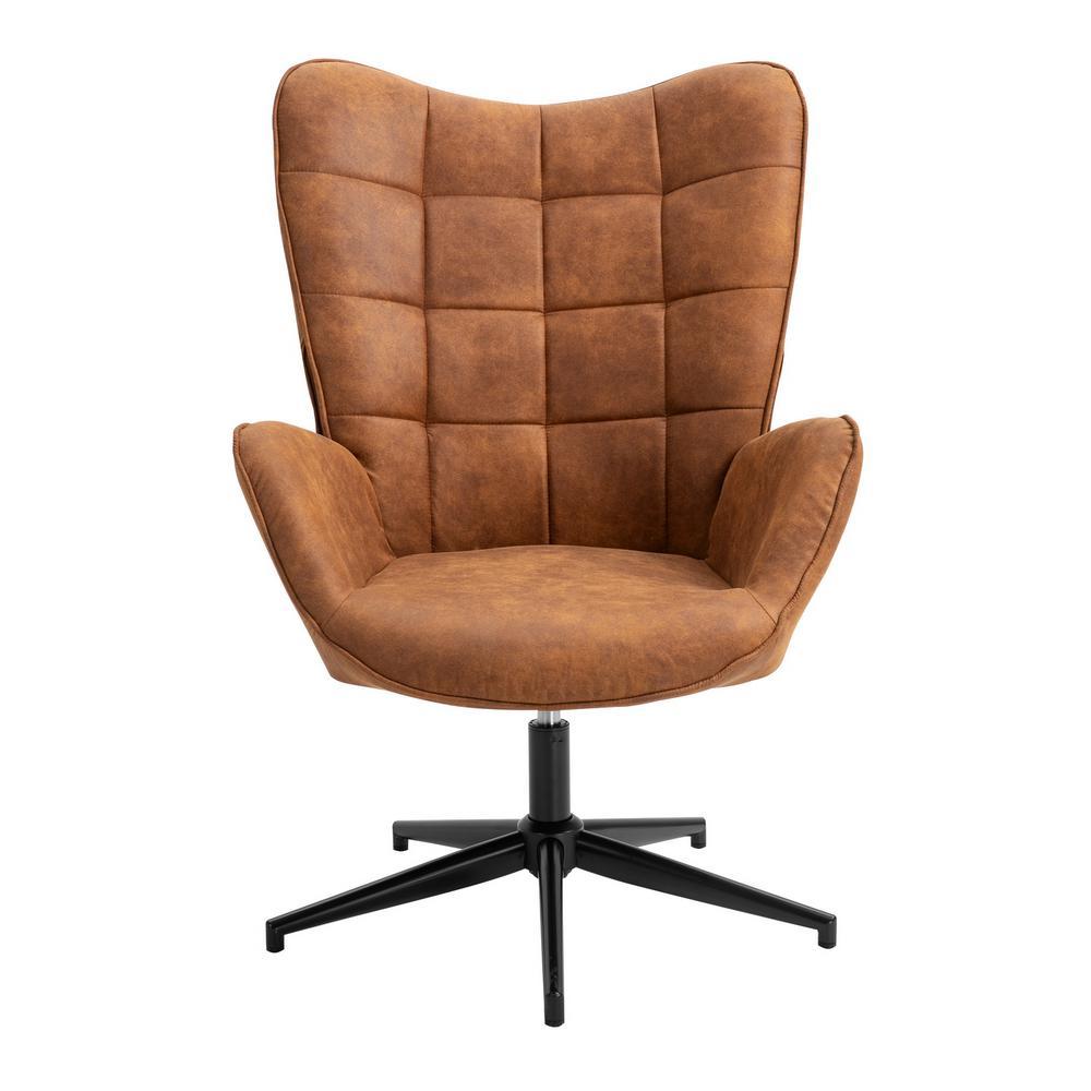 Iris Brown Swivel Arm Chair Wingback Balloon Chair
