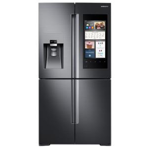 Click here to buy Samsung 27.9 cu. ft. Family Hub 4-Door Flex French Door Smart Refrigerator in Black Stainless Steel by Samsung.