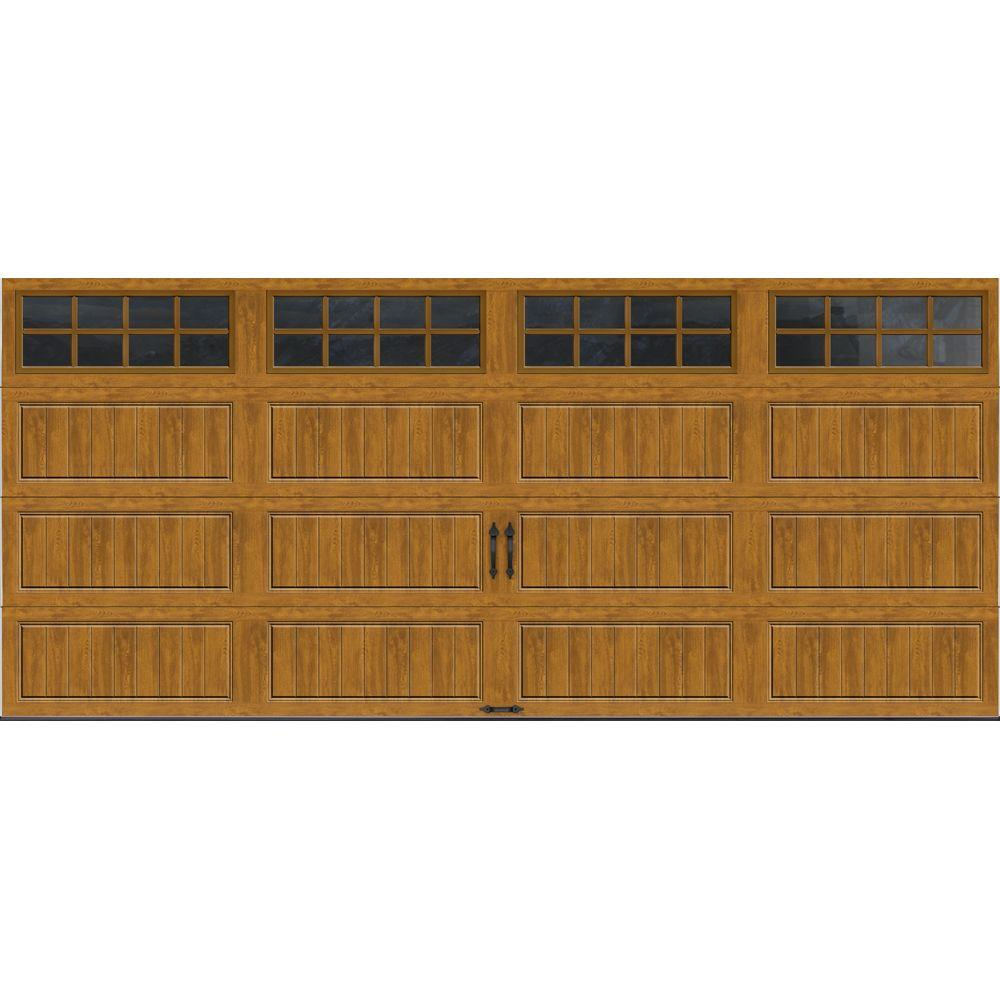 Clopay Gallery Collection 16 ft. x 7 ft. 18.4 R-Value Intellicore Insulated Ultra-Grain Medium Garage Door with SQ24 Window