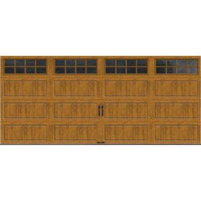 Gallery Collection 16 ft. x 7 ft. 18.4 R-Value Intellicore Insulated Ultra-Grain Medium Garage Door with SQ24 Window