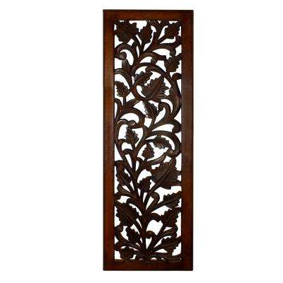 Brown Wooden Wall Panel with Leaves Wooden Wall Panel