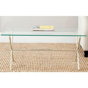 Brogen 38 in. Clear/Silver Medium Rectangle Glass Coffee Table