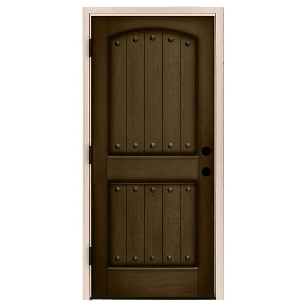 Steves Sons 32 In X 80 In Rustic 2 Panel Plank Stained Mahogany Wood Prehung Front Door