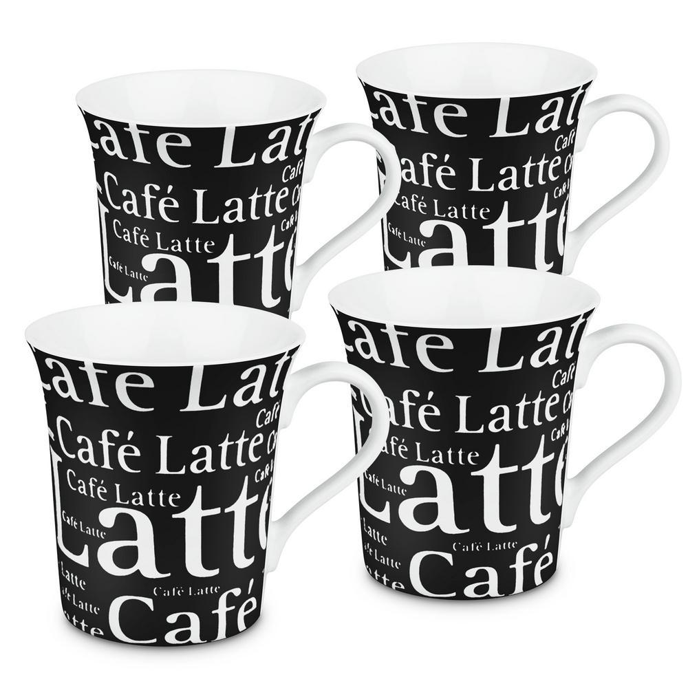 Konitz 4-Piece Cafe Latte Writing on Black Porcelain Mug Set