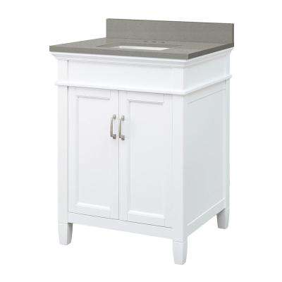 Ashburn 25 in. W x 22 in. D Vanity Cabinet in White with Engineered Quartz Vanity Top in Sterling Grey with White Basin