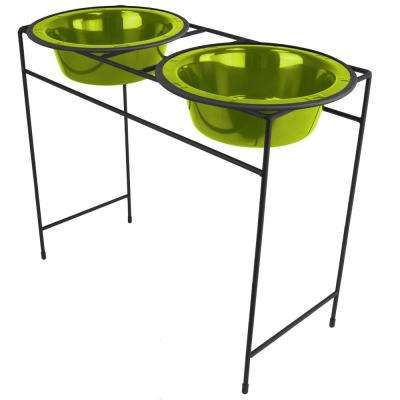 10 Cup Modern Double Diner Feeder with Dog Bowls, Corona Lime