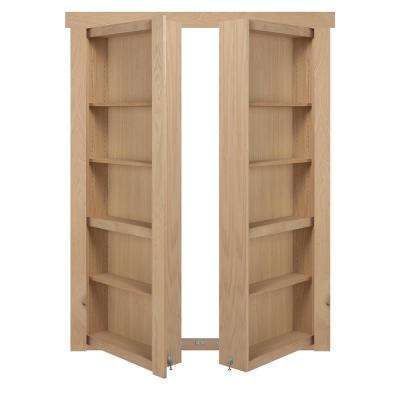 48 in. x 80 in. Flush Mount Assembled Oak Unfinished Out-Swing Solid Core Interior French Bookcase Door