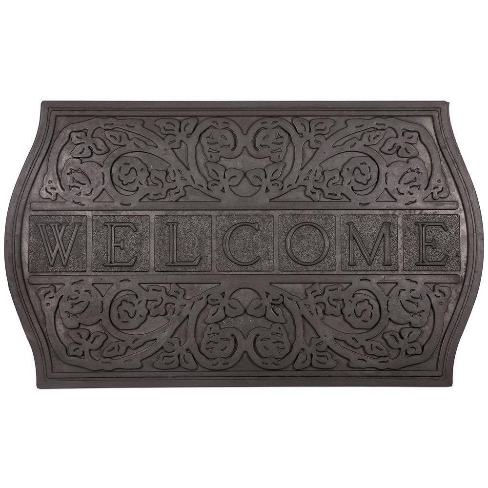 Entryways Plaque Welcome 18 in. x 30 in. Recycled Rubber Door Mat