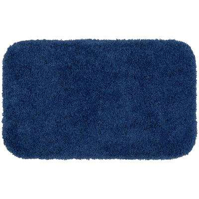 Serendipity Navy 24 in. x 40 in. Shag Nylon Bath Mat