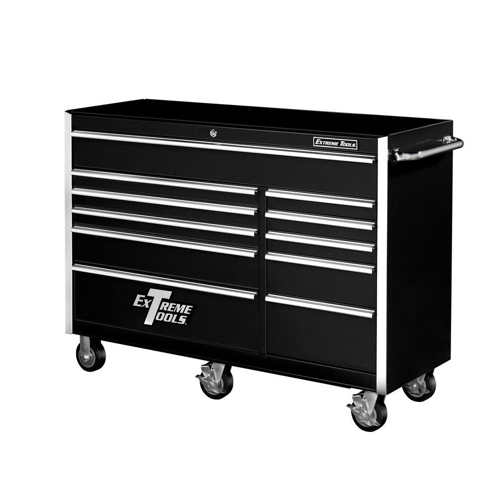 56 in. 11-Drawer Standard Roller Cabinet Tool Chest in Black