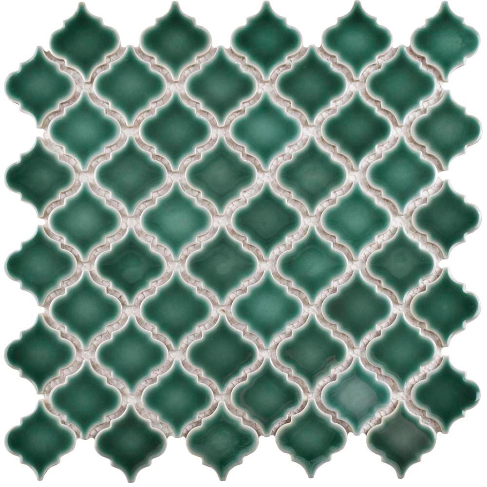 Merola Tile Hudson Tangier Emerald 12 3 8 In X 1 2 5 Mm Porcelain Mosaic Fkoltr30 The Home Depot
