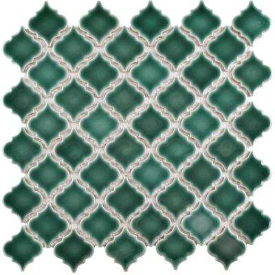 Hudson Tangier Emerald 12-3/8 in. x 12-1/2 in. x 5 mm Porcelain Mosaic Tile