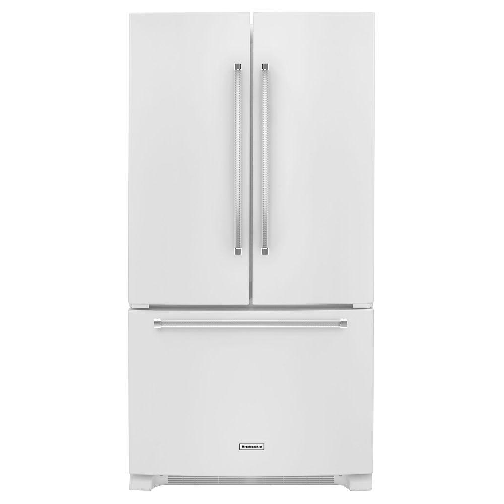 36 in. W 25.2 cu. ft. French Door Refrigerator in White