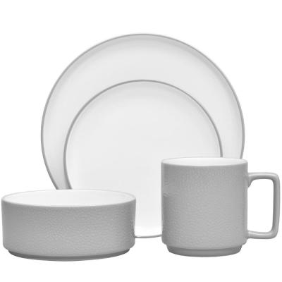 Colortex-Piece Casual Grey Porcelain Dinnerware Set (Service for 1)