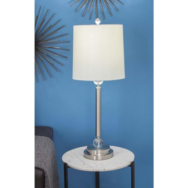 Modern White Metal And Crystal Buffet Lamp
