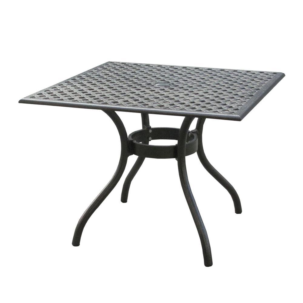 Eugene Black Sand Square Cast Aluminum Outdoor Dining Table