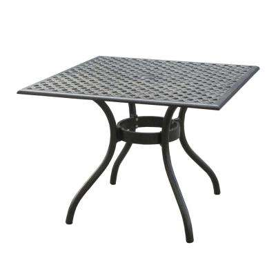 Eugene Black Sand Square Cast Aluminum Outdoor Dining Table
