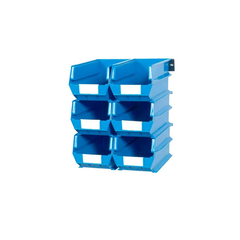 LocBin 2.76-Gal. Wall Storage Bin System in Blue (6-Bins) and 2-