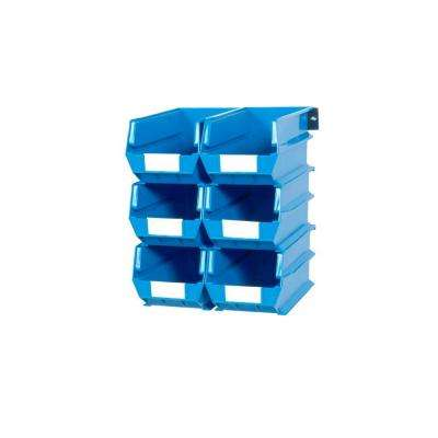 LocBin 2.76-Gal. Wall Storage Bin System in Blue (6-Bins) and 2- Wall Mount Rails