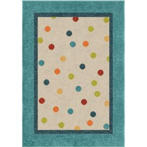 Orian Rugs Rainbow Rain Teal 3 ft. 10 inch x 5 ft. 2 inch Indoor Accent Rug by Orian Rugs