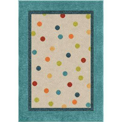 Rainbow Rain Teal 5 ft. x 8 ft. Indoor Area Rug