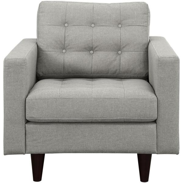 MODWAY Empress Upholstered Armchair in Light Gray