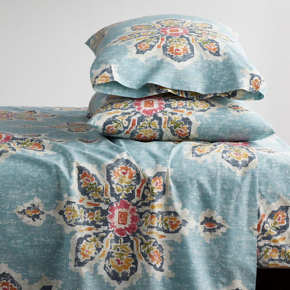 Serafina 4-Piece 200-Thread Count Cotton Percale Queen Sheet Set