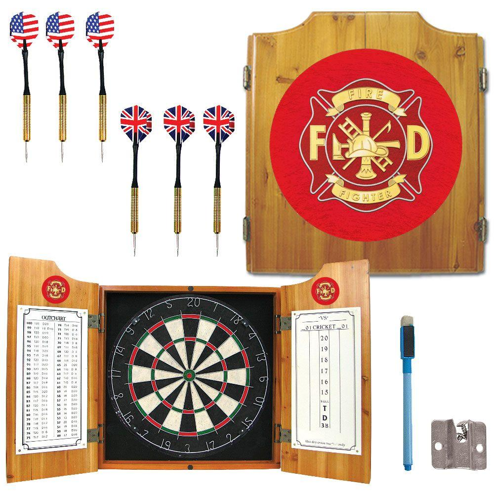 Fire Fighter Wood Finish Dart Cabinet Set