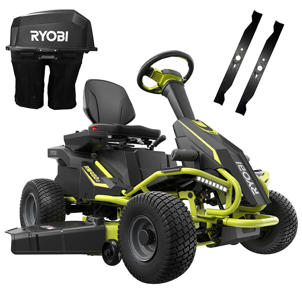 RYOBI 38 in. 75 Ah Battery Electric Rear Engine Riding Lawn Mower and Bagging Kit